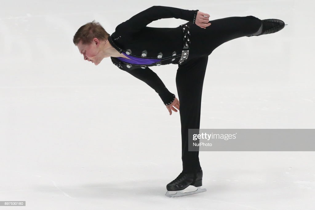 Mikhail Kolyada performs during the men's individual free program event at the Russian Figure Skating Championships in St, on December 23, 2017. Petersburg, on December 23, 2017.