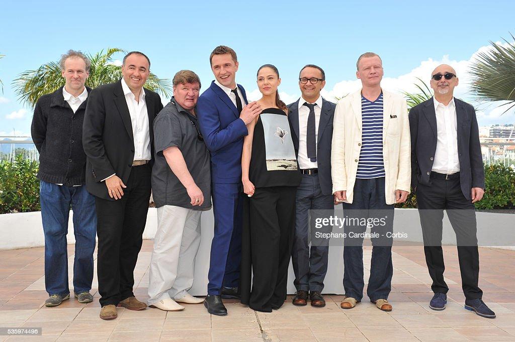 Mikhail Krichman, Alexandre Rodnianski, Roman Madyanov, Vladimir Vdovichenkov, Yelena Lyadova, Andrey Zvyagintsev, Aleksey Serebryakov and Serguei Melkoumov attend the 'Leviathan' photocall during the 67th Cannes Film Festival