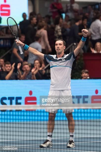 Mikhail Kukushkin of Kazakhstan celebrates victory during the round of 8 match against Marton Fucsovics of Hungary on day five of the Erste Bank Open...