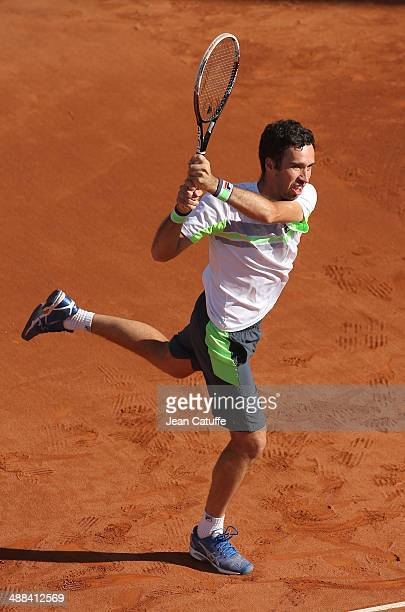 Mikhail Kukushkin of Kazakhstan competes in doubles during the ATP Tour Open Banc Sabadell Barcelona 2014 62nd Trofeo Conde de Godo at Real Club de...