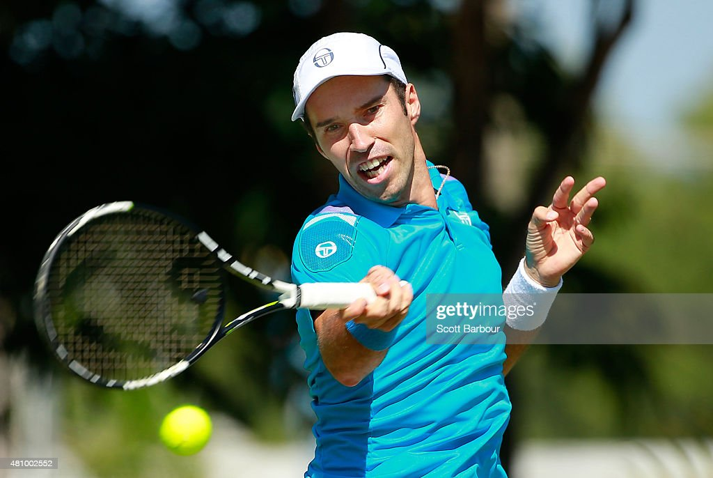 Mikhail Kukushkin of Kazakhstan plays a forehand in his singles match against Thanasi Kokkinakis of Australia during day one of the Davis Cup World Group quarterfinal tie between Australia and Kazakhstan at Marrara Sporting Complex on July 17, 2015 in Darwin, Australia.