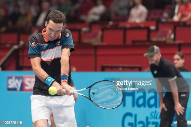 Mikhail Kukushkin of Kazakhstan returns a ball during the round of 8 match against Marton Fucsovics of Hungary on day five of the Erste Bank Open 500...