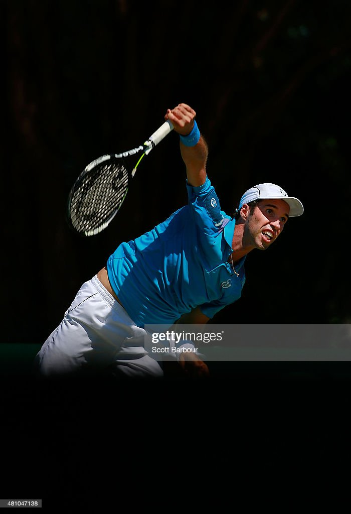 Mikhail Kukushkin of Kazakhstan serves in his singles match against Thanasi Kokkinakis of Australia during day one of the Davis Cup World Group quarterfinal tie between Australia and Kazakhstan at Marrara Sporting Complex on July 17, 2015 in Darwin, Australia.