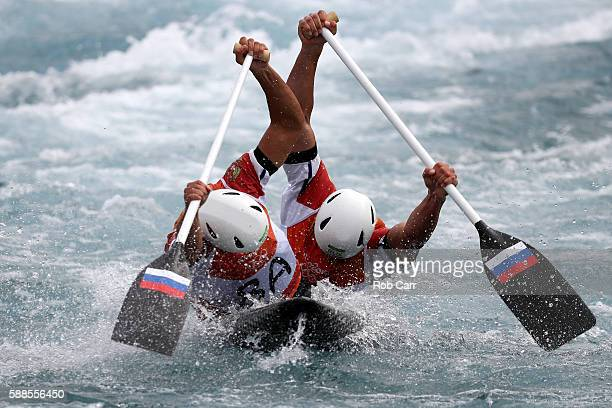 Mikhail Kuznetsov and Dmitry Larionov of Russia compete during the Men's Canoe Double Final on Day 6 of the Rio 2016 Olympics at Whitewater Stadium...