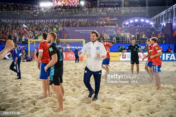 Mikhail Likhachev, Head Coach of Football Union of Russia celebrates following his team's victory in the FIFA Beach Soccer World Cup 2021 Final match...