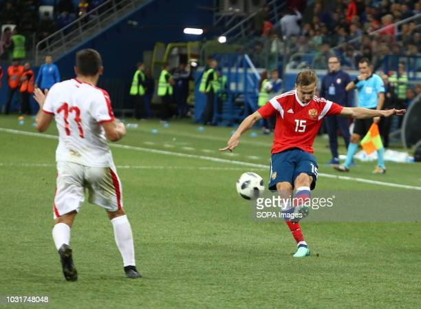 Mikhail Lisov and Miroslav Bogosvac seen in action during the match 2019 UEFA European Under21 Championship Russia vs Serbia Group 7 The Russian team...