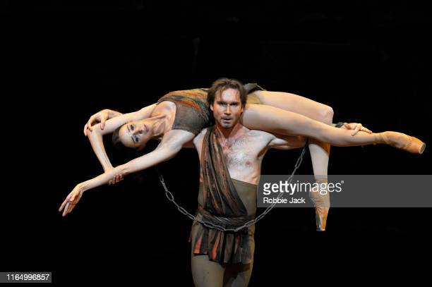 Mikhail Lobukhin as Spartacus and Anna Nikulina as Phrygia in The Bolshoi Ballet's production of Yuri Grigorovich's Spartacus at The Royal Opera...