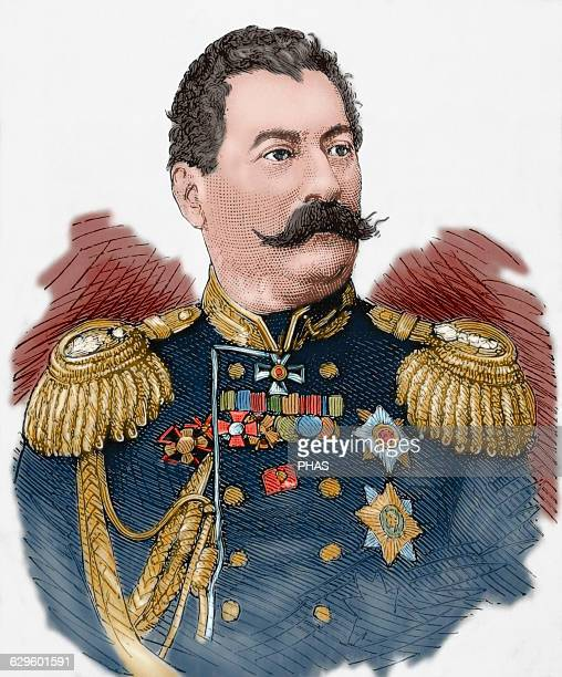 Mikhail Loris-Melikov . Russian-Armenian statesman. Engraving. The Spanish and American Illustration, 1877. Colored.