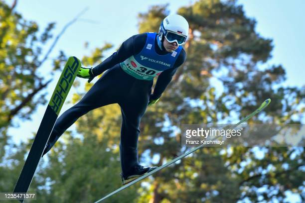 Mikhail Maksimochkin of Russia competes during the FIS Grand Prix Skijumping Hinzenbach at on February 6, 2021 in Eferding, Austria.