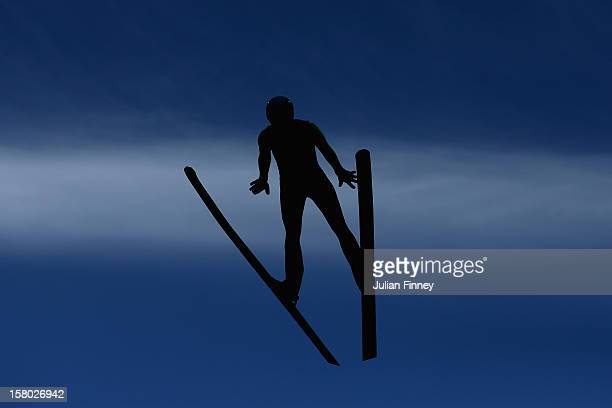 Mikhail Maksimochkin of Russia competes in a Ski Jump during the FIS Ski Jumping World Cup at the RusSki Gorki venue on December 9 2012 in Sochi...