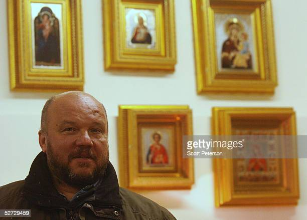 Mikhail Morozov benefactor of a unique rehabilitation program for recovering alcoholics and drug addicts stands before some of the religious icons he...