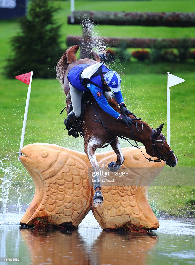 Mikhail Nastenko of Russia falls off his horse Reistag during the Longines FEI European Eventing Championship 2015 at Blair Castle on September 12, 2015 in Blair Atholl, Scotland.