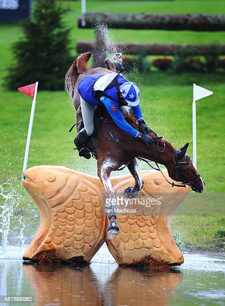 Mikhail Nastenko of Russia falls off his horse Reistag during the Longines FEI European Eventing Championship 2015 at Blair Castle on September 12...