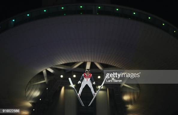 Mikhail Nazarov of Olympic Athlete from Russia makes a jump during the Ski Jumping Men's Normal Hill Individual Final on day one of the PyeongChang...