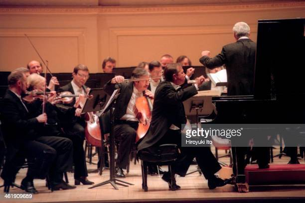 Mikhail Pletnev performing Tchaikovsky's 'Piano Concerto No 2' with the Russian National Orchestra led by Vladimir Spivakov at Carnegie Hall on...