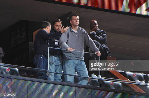 Mikhail Prokhorov owner of the New Jersey Nets looks on against the Atlanta Hawks during the game on November 23 2010 at the Prudential Center in...