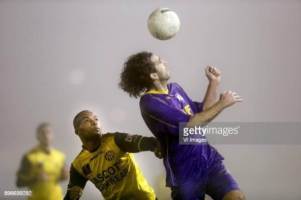 Mikhail Rosheuvel of Roda JC Jordy Zwart of VVSB during the Dutch Cup third round match between VVSB Noordwijkerhout and Roda JC Kerkade at Sportpark...
