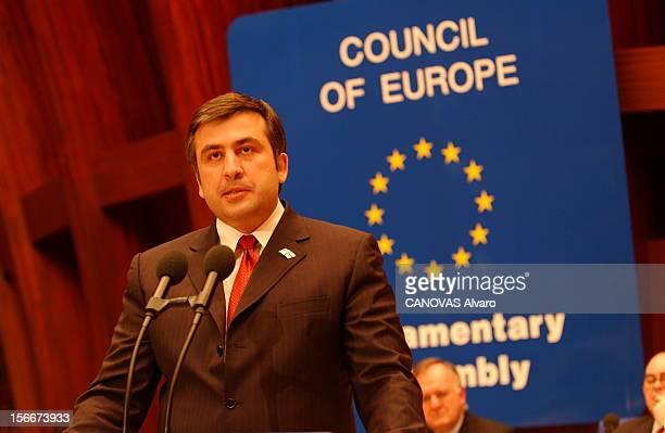 Mikhail Saakashvili New President Of Georgia Le nouveau président géorgien Mikhaïl SAAKACHVILI en visite à STRASBOURG prononçant un discours au...