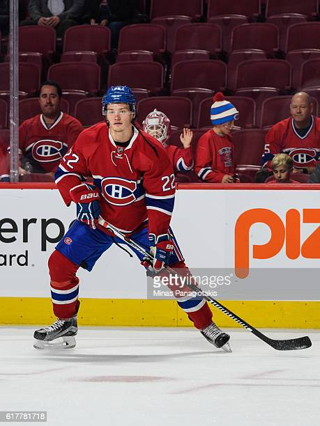 Mikhail Sergachev of the Montreal Canadiens looks on during the warmup prior to the NHL game against the Arizona Coyotes at the Bell Centre on...