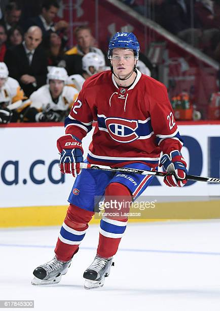 Mikhail Sergachev of the Montreal Canadiens skates against the Pittsburgh Penguins in the NHL game at the Bell Centre on October 18 2016 in Montreal...