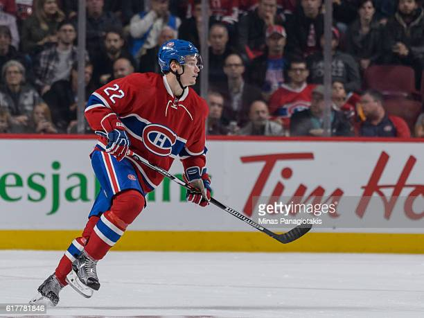 Mikhail Sergachev of the Montreal Canadiens skates during the NHL game against the Arizona Coyotes at the Bell Centre on October 20 2016 in Montreal...