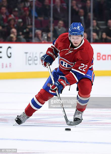 Mikhail Sergachev of the Montreal Canadiens skates with the puck against the Arizona Coyotes in the NHL game at the Bell Centre on October 20 2016 in...