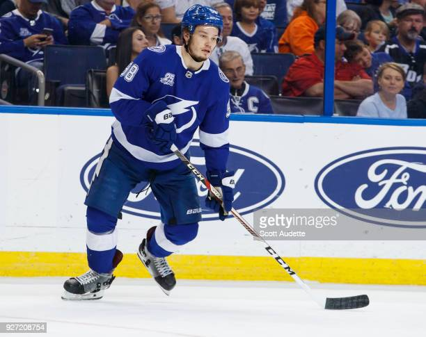 Mikhail Sergachev of the Tampa Bay Lightning against the Philadelphia Flyers at Amalie Arena on March 3 2018 in Tampa Florida n