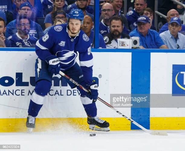 Mikhail Sergachev of the Tampa Bay Lightning against the Washington Capitals during Game Seven of the Eastern Conference Final during the 2018 NHL...