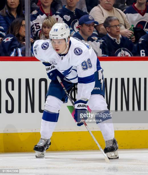 Mikhail Sergachev of the Tampa Bay Lightning gets set during a first period faceoff against the Winnipeg Jets at the Bell MTS Place on January 30...