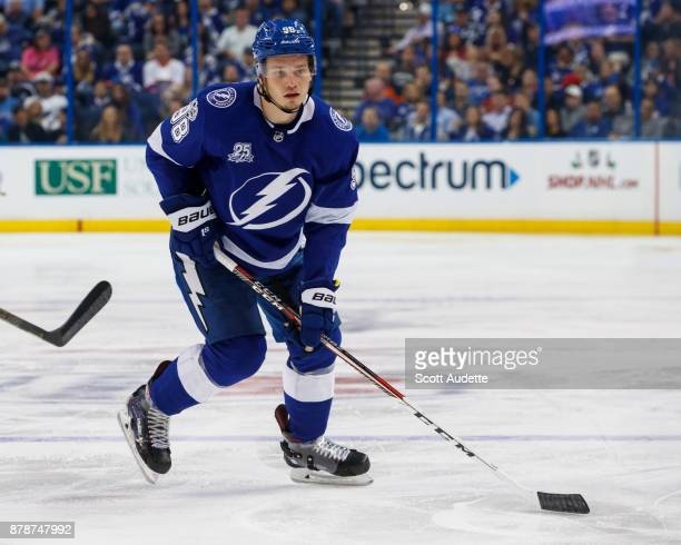 Mikhail Sergachev of the Tampa Bay Lightning skates against the New York Islanders during the third period at Amalie Arena on November 18 2017 in...