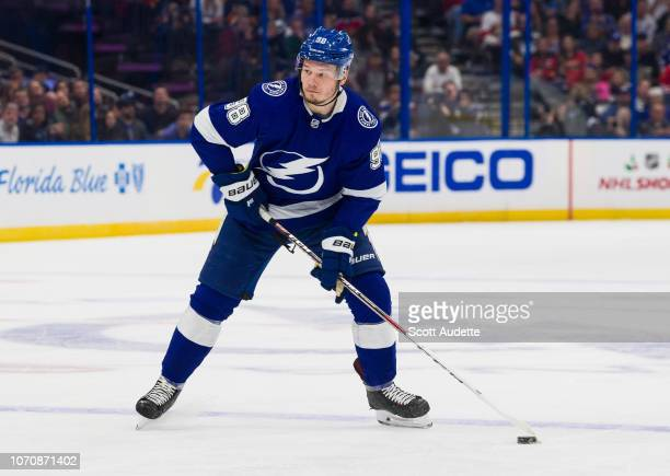 Mikhail Sergachev of the Tampa Bay Lightning skates against the Florida Panthers during the first period at Amalie Arena on November 21 2018 in Tampa...