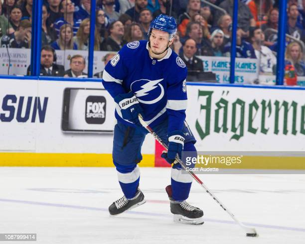 Mikhail Sergachev of the Tampa Bay Lightning skates against the Philadelphia Flyers during the first period at Amalie Arena on December 27 2018 in...