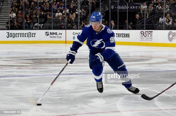 Mikhail Sergachev of the Tampa Bay Lightning skates during the second period against the Vegas Golden Knights at TMobile Arena on October 26 2018 in...