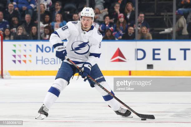 Mikhail Sergachev of the Tampa Bay Lightning skates with the puck against the New York Rangers at Madison Square Garden on February 27 2019 in New...