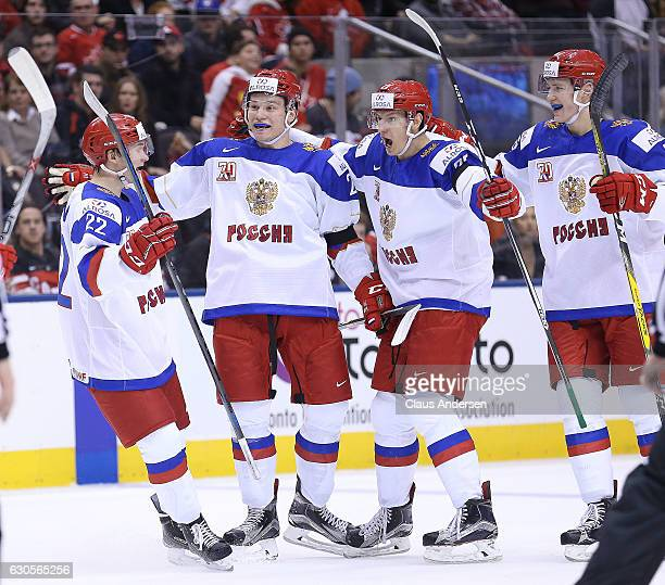 Mikhail Sergachyov of Team Russia celebrates a goal against Team Canada during a game at the the 2017 IIHF World Junior Hockey Championships at the...