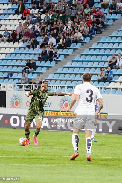 Mikhail Sivakov of Zorya Luhansk vies for the ball with Aleksandar Prijovic of Legia during the match Zorya Luhansk lost the game with FC Legia...