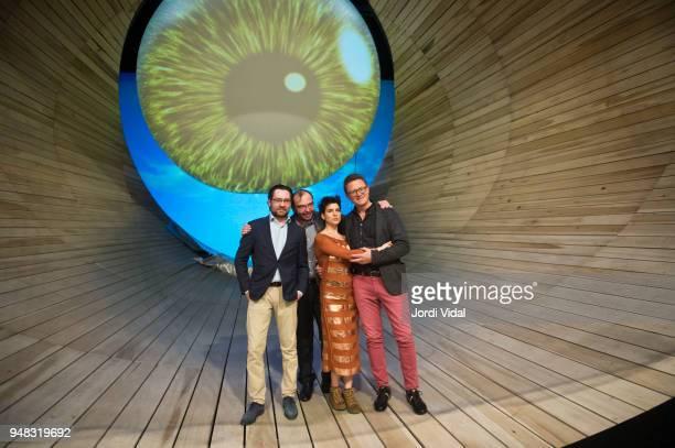 Mikhail Tatarnikov Dmitry Bertman Asmik Grigorian and Egils Silins attend the press conference for Russian Opera 'Demon' at Gran Teatre del Liceu on...