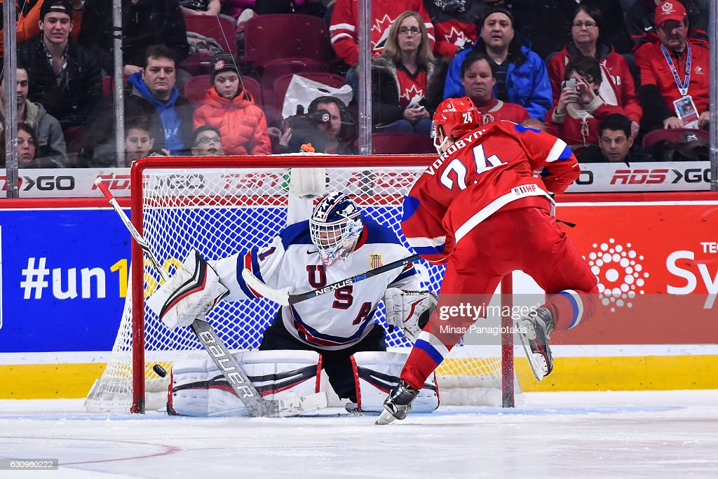 Mikhail Vorobyev #24 of Team Russia scores on goaltender Tyler Parsons #1 of Team United States in a shootout during the 2017 IIHF World Junior Championship semifinal game at the Bell Centre on January 4, 2017 in Montreal, Quebec, Canada. The Team United States defeated Team Russia 4-3 in a shootout.