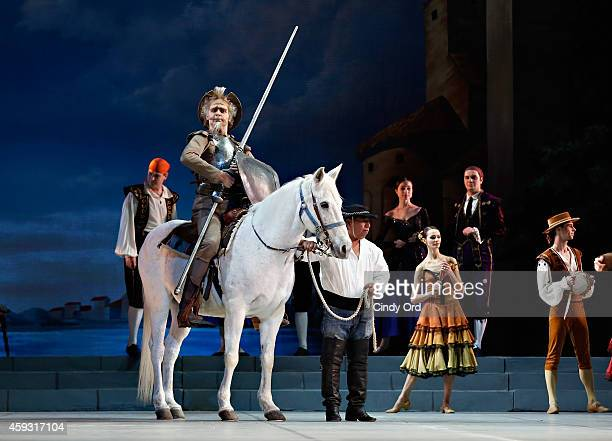 Mikhailovsky Ballet dancer Marat Shemiunov performs a scene from 'Don Quixote' during a dress rehearsal at David H Koch Theater Lincoln Center on...