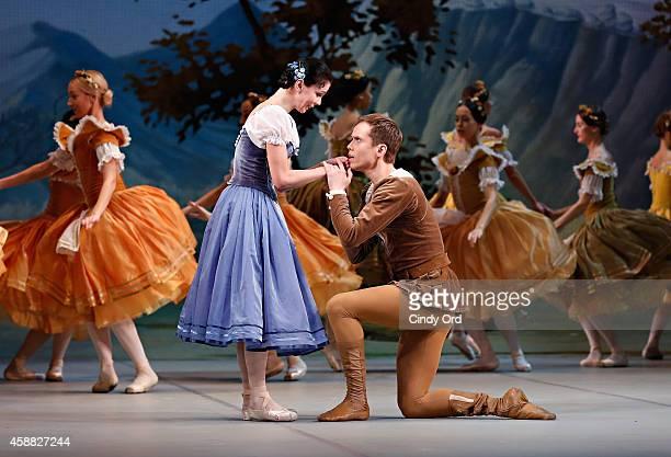 Mikhailovsky Ballet dancers Leonid Sarafanov and Natalia Osipova perform a scene from 'Giselle' during a dress rehearsal at David H Koch Theater...