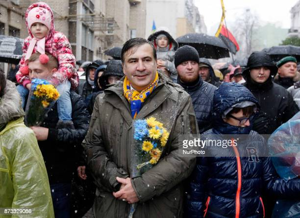 Mikheil Saakashvili former Georgian President and Odessa governor takes part with his supporters in quotMarch of outragedquot in Kiev Ukraine 12...