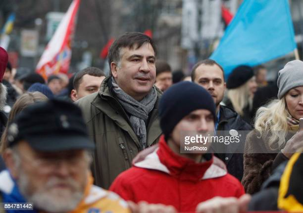 Mikheil Saakashvili former Georgian President and Odessa governor takes part with his supporters in quotMarch for Impeachmentquot in Kiev Ukraine 03...