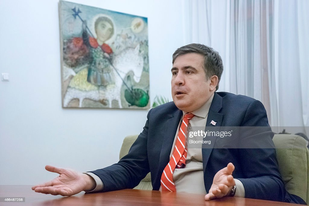 Mikheil Saakashvili, former Georgian president, gestures whilst speaking during an interview in Kiev, Ukraine, on Friday, March 13, 2015. Saakashvili said his efforts to persuade the U.S. administration to arm Ukraine are bearing fruit as cross-party pressure intensifies on U.S. President Barack Obama. Photographer: Vincent Mundy/Bloomberg via Getty Images