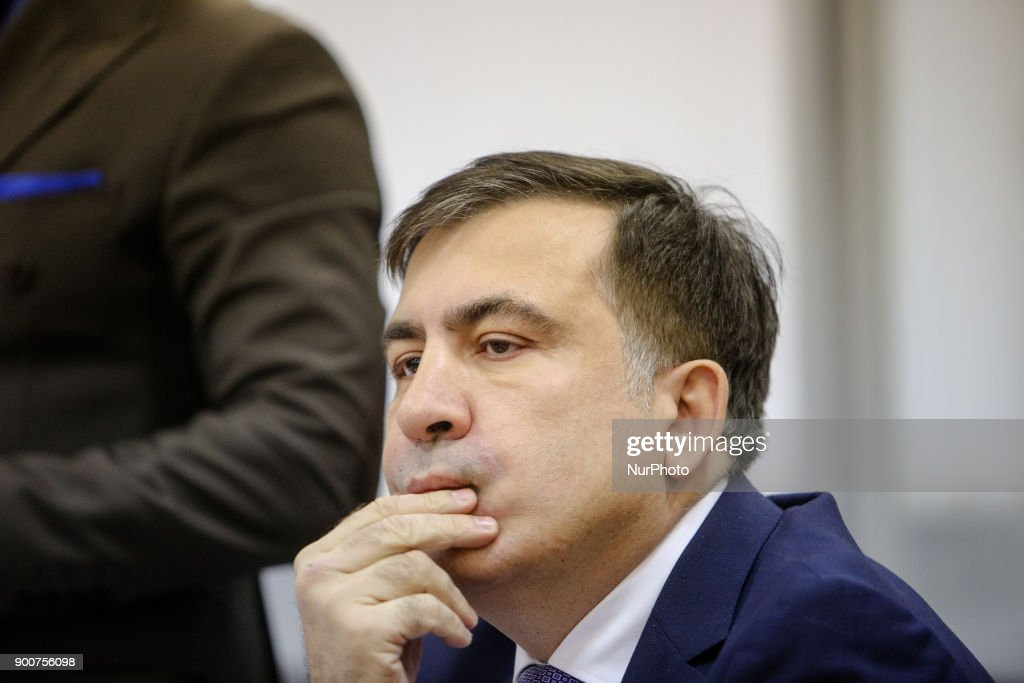 Mikheil Saakashvili is seen during the court hearing. Appeal court of Kyiv hears the case on the arrest of ukrainian politic and Georgian former president Mikheil Saakashvili, Kyiv, Ukraine, Jan. 3, 2017.