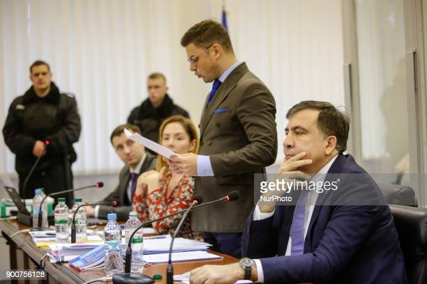 Mikheil Saakashvili is seen during the court hearing Appeal court of Kyiv hears the case on the arrest of ukrainian politic and Georgian former...