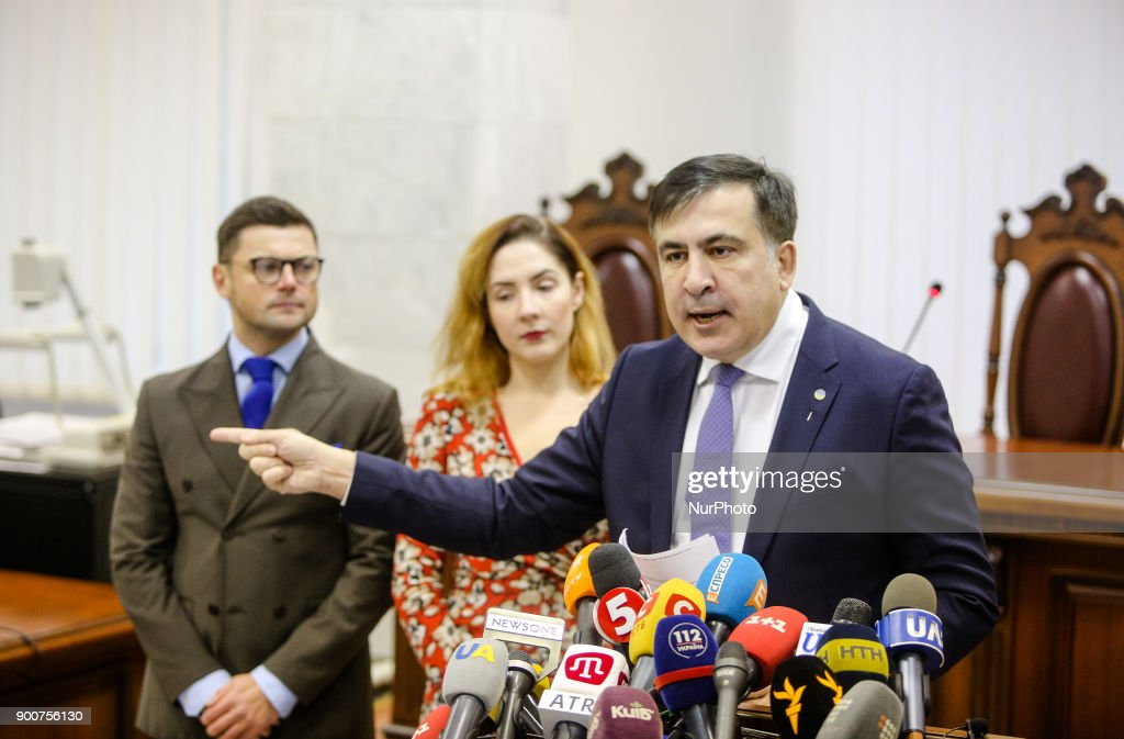 Mikheil Saakashvili talks to media before the hearing. Appeal court of Kyiv hears the case on the arrest of ukrainian politic and Georgian former president Mikheil Saakashvili, Kyiv, Ukraine, Jan. 3, 2017.