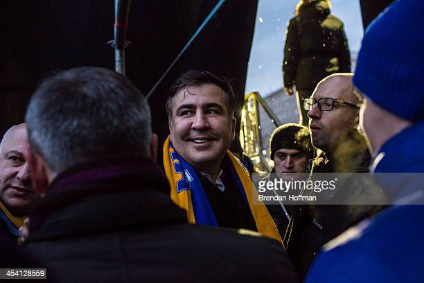 Mikheil Saakashvili the former president of Georgia waits back stage just before speaking to antigovernment protesters on Independence Square on...
