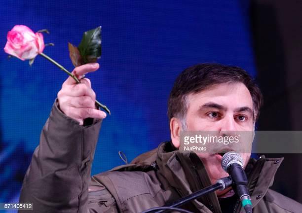 Mikheil Saakashviliformer Georgian President and Odessa governorspeaks during a rally near Verkhovna Rada in Kiev Ukraine 7 November 2017 Activists...