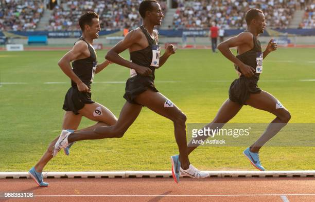 Mikhou Sadik of Bahrain, Aman Wote of Ethiopia, and Ayanieh Souleiman of Djibouti during the Men's 1500m at the Meeting de Paris of the IAAF Diamond...