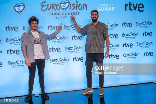 Miki and Adria Salas attend a press conference for Eurovision 2019 at the RTVE studios on January 21 2019 in Barcelona Spain